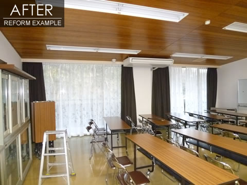 光を遮断 学習室のカーテン取付け