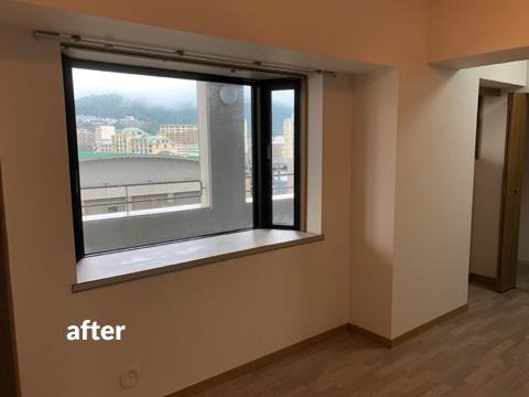 高層マンション ほとんど使用していない北面壁を結露対策補修工事