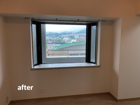高層マンション ほとんど使用していない北面壁を結露対策補修工事 1枚目