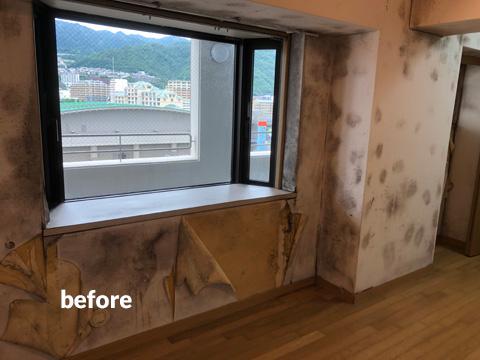 高層マンション ほとんど使用していない北面壁を結露対策補修工事 4枚目